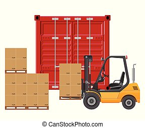 Forklift loading cargo container. Vector illustration isolated on white background.