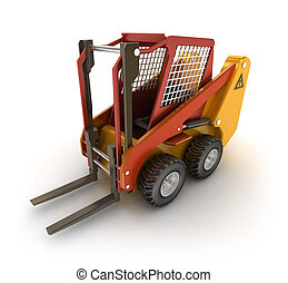 Forklift machine, isolated on white
