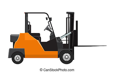 Forklift mock up side view. Solid and flat color design. Rasterized copy