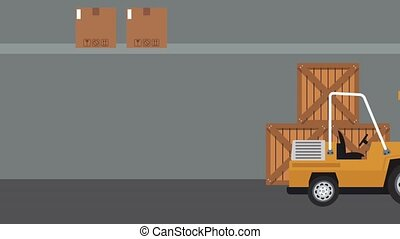 Forklift on warehouse with wooden boxes inside High definition animation colorful scenes