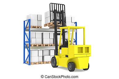 forklift, rack., blå, palle, lastning, serie., logistik, ...
