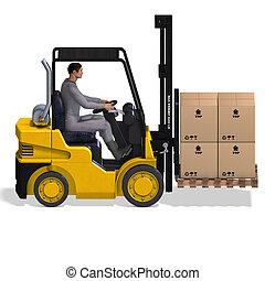 Forklift - rendering of a forklift with Clipping Path and ...