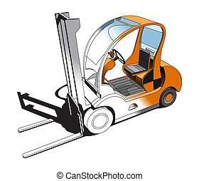 Forklift - illustration of stylish small forklift.