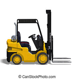 Forklift - rendering of a forklift with Clipping Path and...