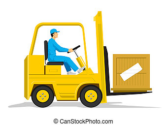Stock vector of a man driving a forklift