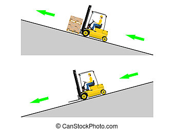 The dangers of driving a forklift truck. Vector