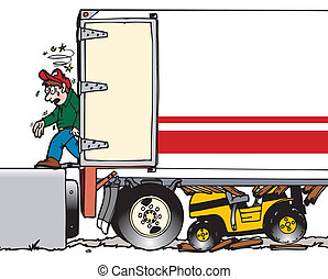 forklift operator failed to check if trailer can handle a heavy forklift causing it to fall through floor of trailer