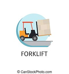 Forklift transport in flat style