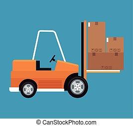 forklift truck cardboard boxes delivery concept