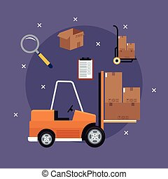 forklift truck cardboard boxes icons delivery concept purple background