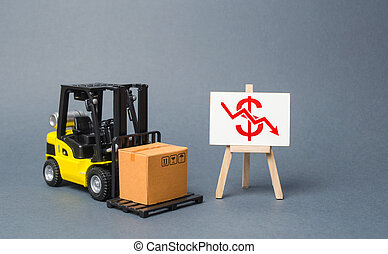 Forklift truck carries a cardboard box near a stand with a red dollar arrow down. decline in the production of goods and products, economic downturn and recession. Falling consumer demand.