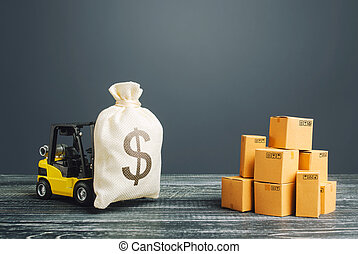 Forklift truck carries a US dollar USD money bag. Profit from trade and exchange of goods. Investments financing in production, taxes, income revenues and costs. High productivity superprofits