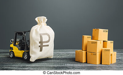 Forklift truck carries russian ruble money bag near the pile of boxes. Profit from trade and exchange of goods. Superprofits. Investments financing in production, taxes, income revenues and costs.