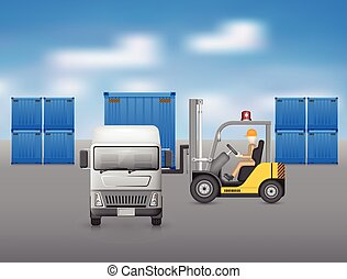 Forklift truck - Forklift working with truck, blue sky...