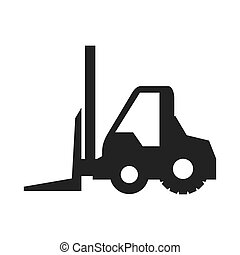 forklift truck construction machinary vehicle silhouette...
