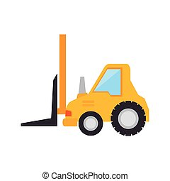 forklift truck construction yellow machinary vehicle vector...