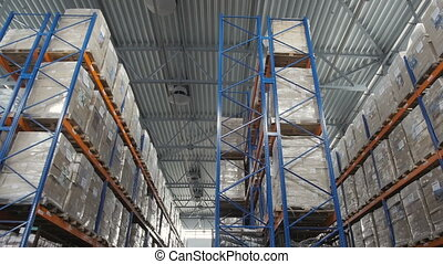 Forklift Truck Driver Loading Pallet In Storage Warehouse,...
