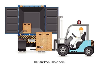Forklift truck - Illustrator of forklift and cargo container...