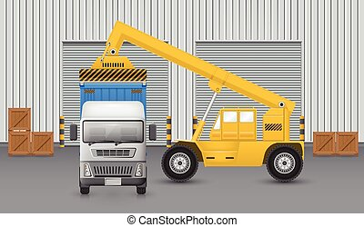 Forklift truck - Forklift working with cargo container and...