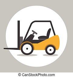 Forklift truck flat icon - Forklift truck cargo. Loader...