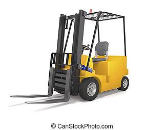 Forklift truck for industrial warehouse (3d illustration)..