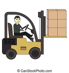 Forklift truck. Fork loader, pallet with stacked boxes
