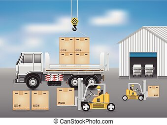 Forklift truck - Forklift working with carton and truck with...