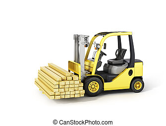 Forklift truck holding wood beams on the white background.
