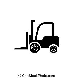 Forklift truck icon - Black vector forklift truck icon on...