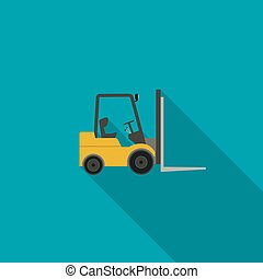 Forklift truck icon. Vector icon of building machinery with...