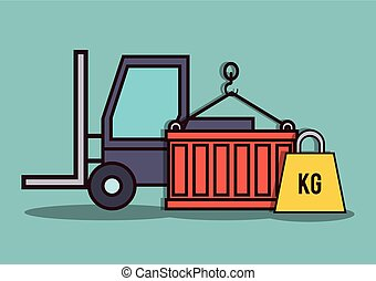 forklift truck icon - forklift truck, container and weight...