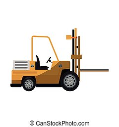 forklift truck icon - Forklift truck vehicle icon over white...