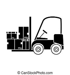 forklift truck icon - forklift truck with carton boxes over...