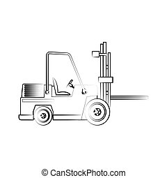 forklift truck icon over white background. vector...