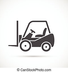Forklift truck icon. Lift truck flat icon