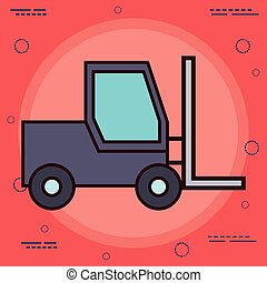 forklift truck icon over red background colorful design...