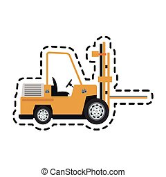 forklift truck icon over white background. colorful design....