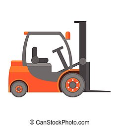 Forklift truck icon in flat isolated on white