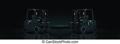 Forklift truck in dark background. 3d rendering