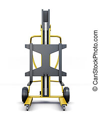Forklift truck isolated on a white background. 3d rendering