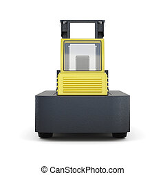 Forklift truck isolated on white background. 3d render image