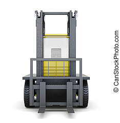 Forklift truck isolated on white background. 3d rendering