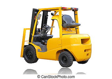 forklift truck isolated on white background.