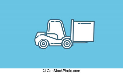Forklift Truck line icon is one of the Truck and Commercial Transport icon set. File contains alpha channel. From 2 to 6 seconds - loop.