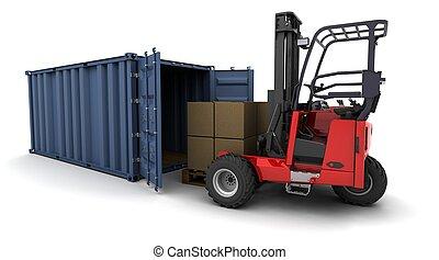 forklift truck loading a container - 3d render of forklift...