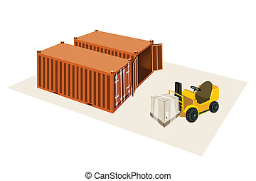 Forklift Truck Loading A Shipping Box into Container