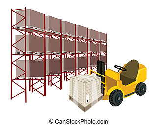 Powered Industrial Forklift, Fork Heavy Machine, Fork Truck or Lift Truck Loading A Wooden Crate or Cargo Box in Industrial Warehouse and Cargo Shelf.