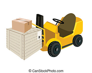 Forklift Truck Loading Shipping Box and Cardboard Box -...