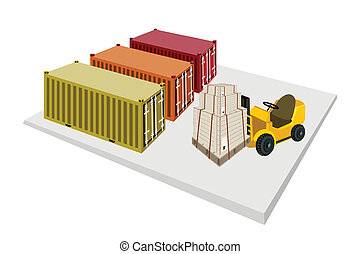 Forklift Truck Loading Shipping Boxes into Containers -...