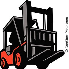 forklift-truck-low-angle-view-ISO - Retro style illustration...
